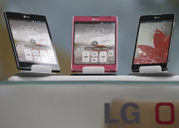 LG Electronics' smart phones are displayed at a shop in central Seoul