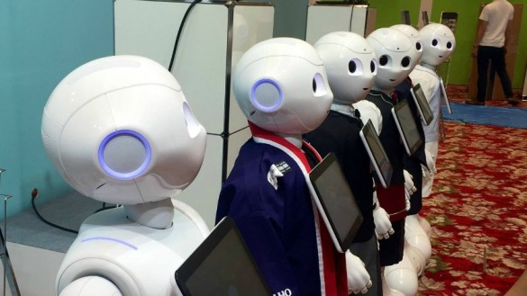 Pepper-robots-at-trade-show