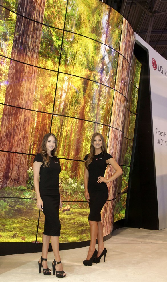 LG will showcase the highly-acclaimed LG OLED Canyon, which first made a splash by wowing attendees at CES® 2018 with its winding LG Open Frame OLED panels in convex and concave configurations. (PRNewsfoto/LG Electronics USA)