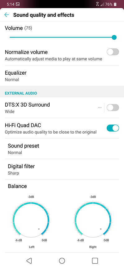 LG G7 ThinQ Audio DAC Selection